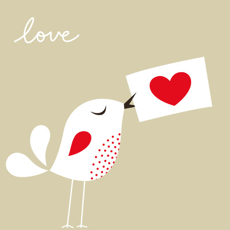 Tarjeta de amor de ave  Foto de archivo - 6312477