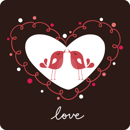 Tarjeta de amor de ave Foto de archivo - 6344374