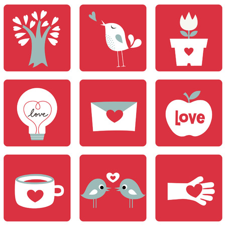 Vector illustration of Love icons. Ideal for Valentine Cards decoration Vector