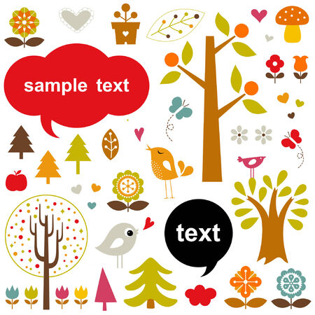 birds and trees set Vector