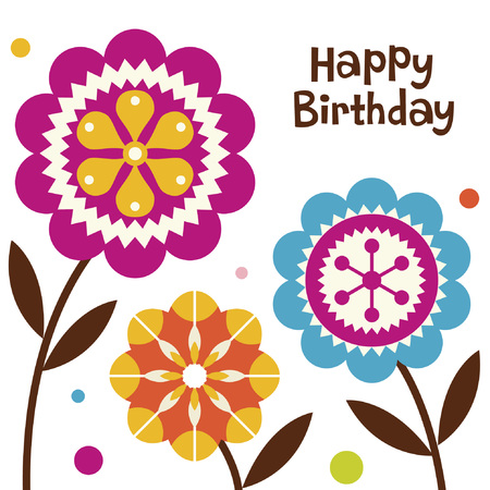 flower birthday card design