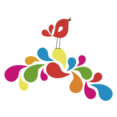 sweet bird card design Illustration