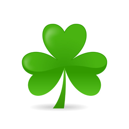 clover leaf shape:   Irish shamrock ideal for St Patricks Day isolated over white background