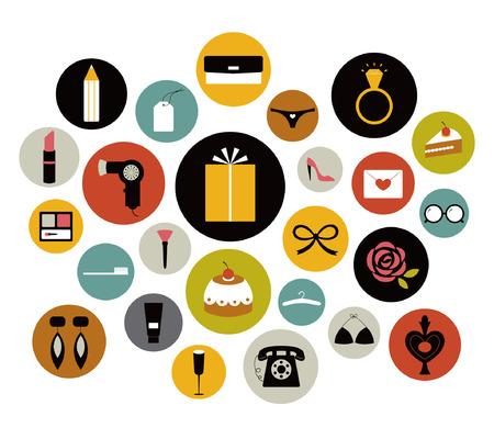 bow hair: conjunto de icono de ni�a Vectores