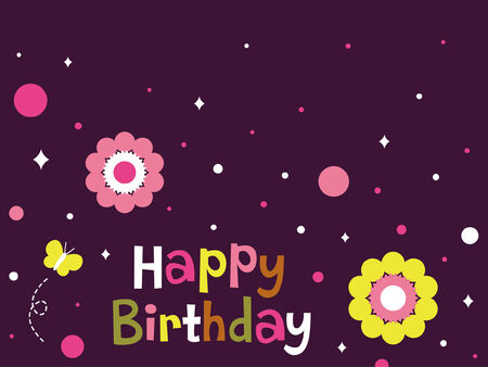 flower birthday card design  Stock Vector - 6904085