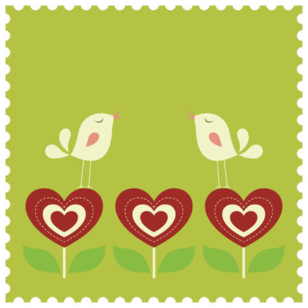 bird love card Stock Vector - 6864078