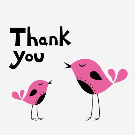 eenvoudige dank u kaart met vogel