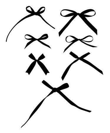 black satin: Inclina la colecci�n aislado sobre fondo blanco