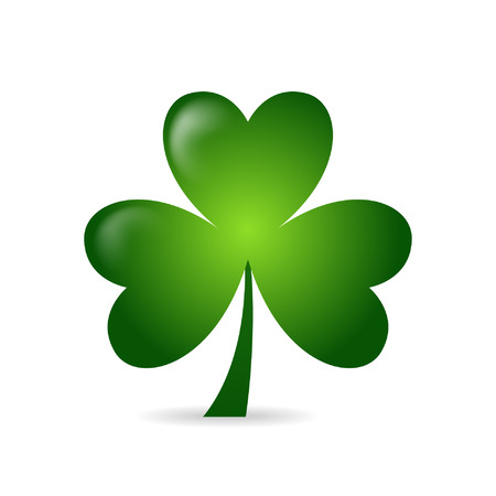 three leaves: Irish shamrock ideal for St Patricks Day isolated over white background