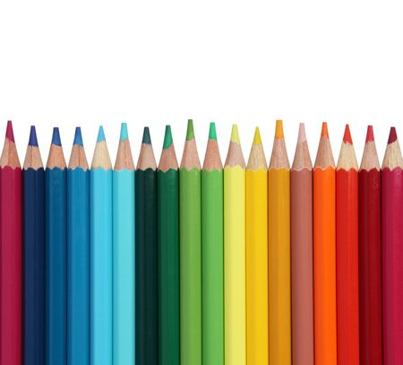 Assortment of coloured pencils on white background Stock Photo - 6847766