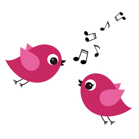 love music: birds with love  Illustration