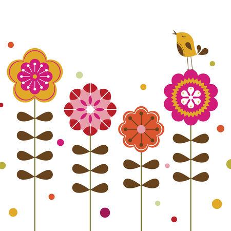 bird and flower background design Stock Vector - 7239622