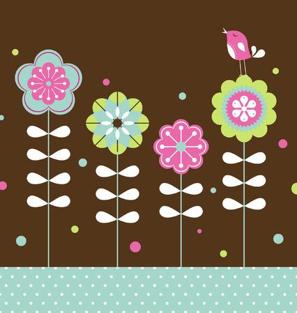 bird and flower background design  Vector
