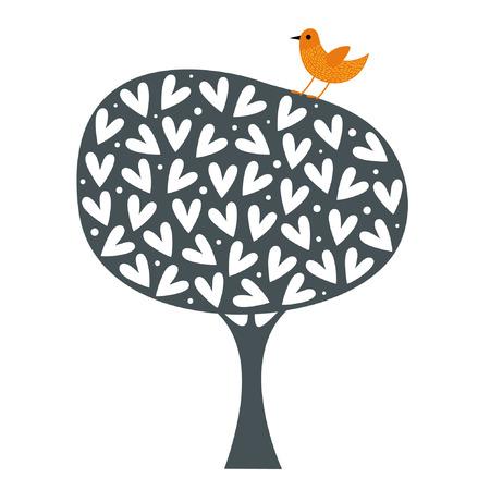 stencil: bird and tree wallpaper design