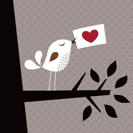 tarjeta de amor de ave  Ilustración de vector
