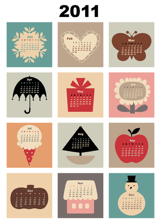 colorful style design Calendar for 2011 Stock Vector - 7566999