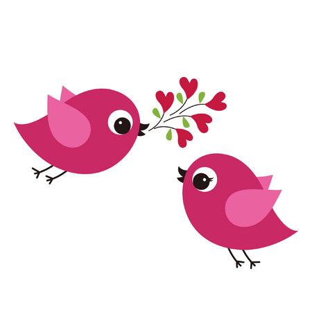 aves con amor  Vectores