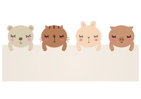 Vector Illustration of cute animals with blank sign.bear,cat,rabbit and pig. Stock Vector - 7661040