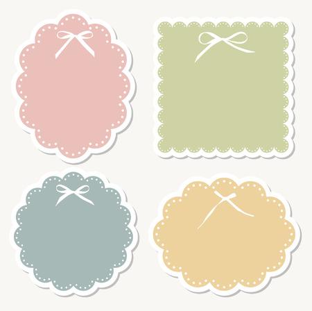 green bow: design retro frame  Illustration