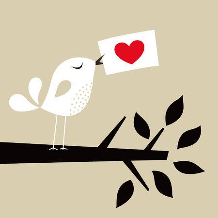 Tarjeta de amor de ave  Foto de archivo - 7594483