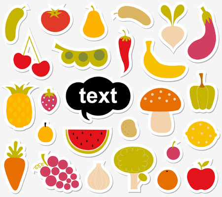pepino caricatura: Pegatina de varias frutas y verduras