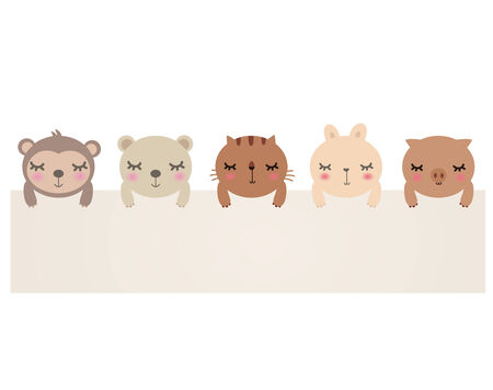 cute animals with blank sign.bear,cat,rabbit,pig and monkey. Stock Vector - 7771111