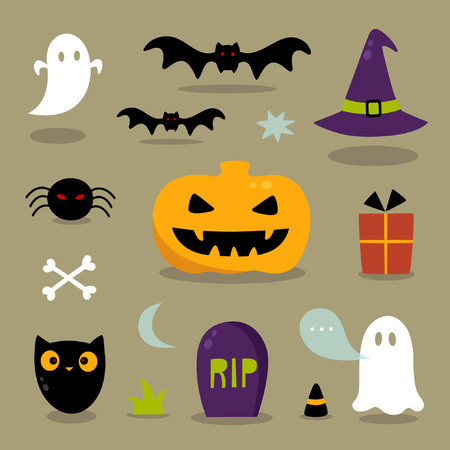 cartoon spider: Cute Halloween icons
