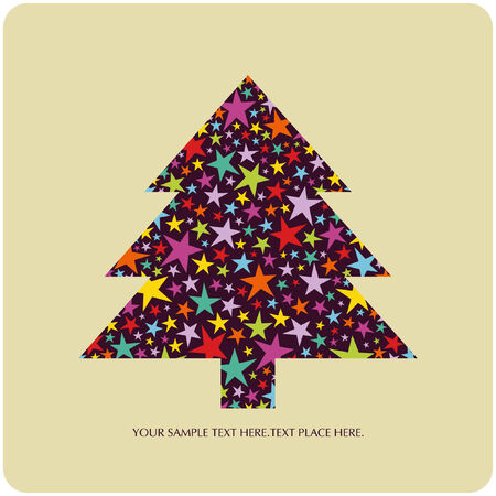 tree of christmas card  Vector