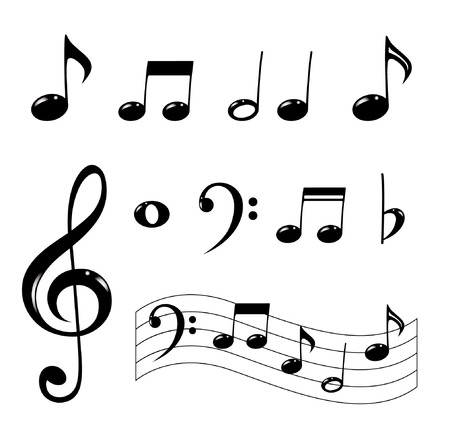 bass clef: Various musical notes in black