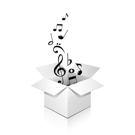 music box: gift box full of notes, over white, isolated  Illustration