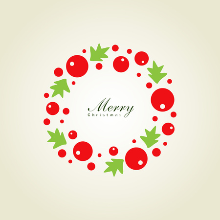 Christmas wreath card template Stock Vector - 8225394