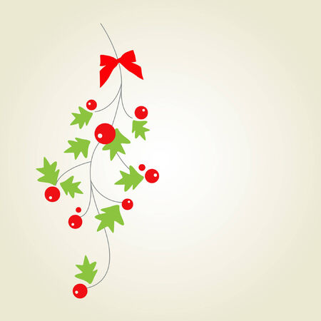 advent wreath: Christmas holly with red berries Illustration