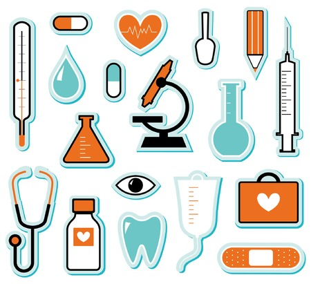 clinical thermometer: collection of medical themed icons and warning-signs Illustration