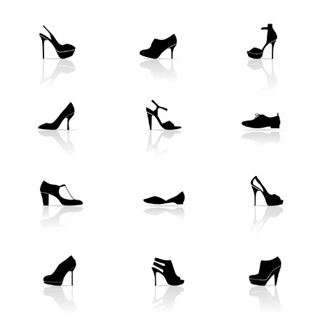 highheeled: Conjunto de iconos, zapatos Vectores