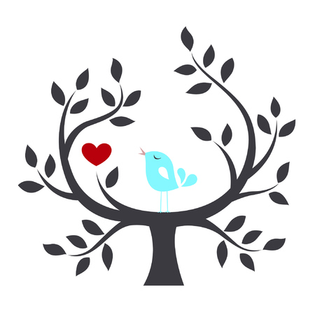 seasonal symbol: Bird in a tree with love Illustration