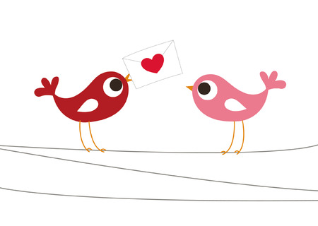 pink wedding: birds love card