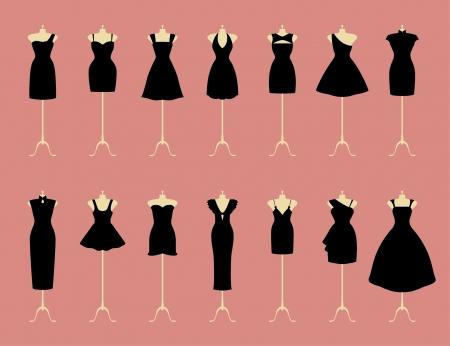 traje de gala: Poco vestidos de negros Vectores