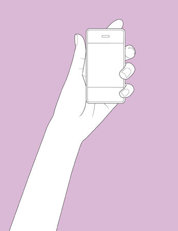 hands on keyboard: Beautiful hand holding a smart phone in outline version
