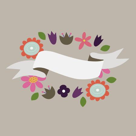 label frame: Flower banners. vector illustration