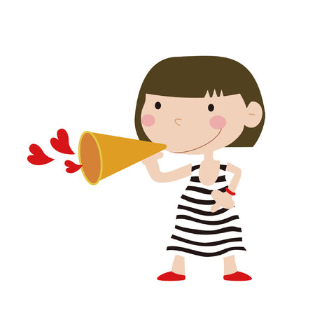 Cute girl with speaker Stock Vector - 9083422