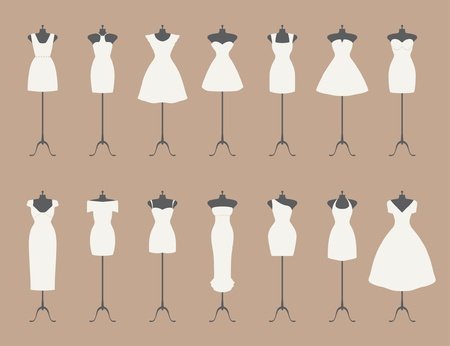 evening gown: little white dresses  Illustration