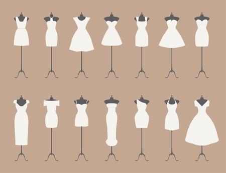 mannequin: peu de robes blanches  Illustration