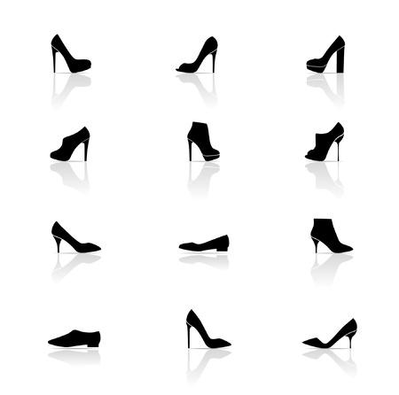 high heels woman: Icon Set, Shoes Illustration