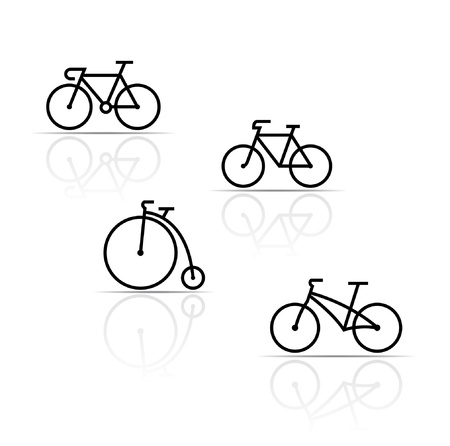 racing bike: Vector set of bicycle silhouettes on a white background