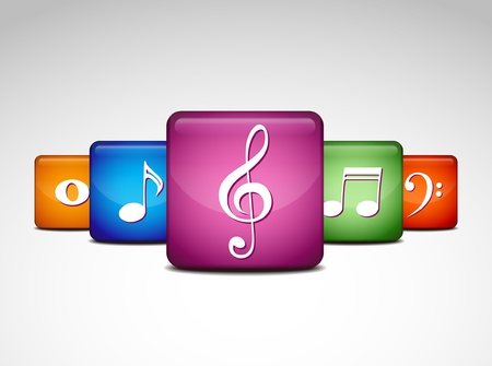 eight note: musical note icons Illustration