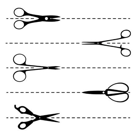 tijeras cortando: conjunto de tijeras de corte  Vectores
