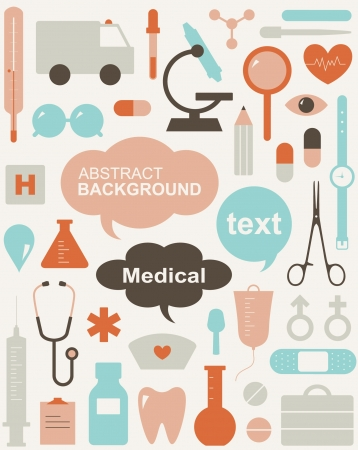 collection of medical themed icons and warning-signs  Vector