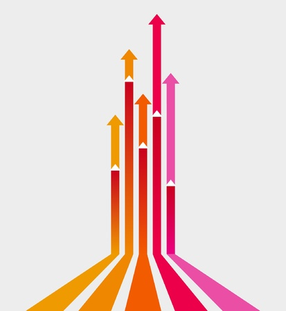 upward graph: Colored arrows vector