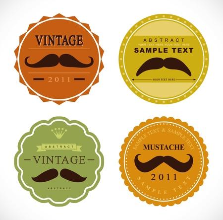 retro mustache vintage fancy labels Stock Vector - 9803926