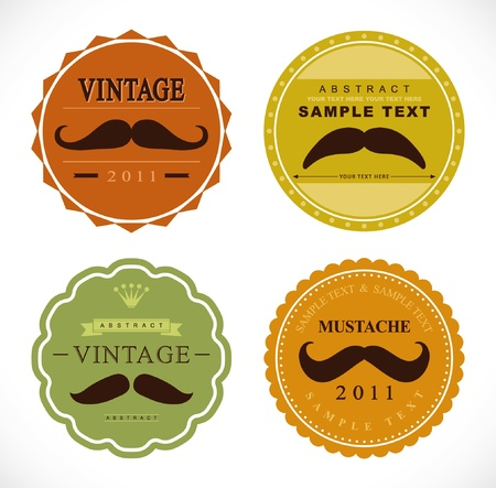 retro mustache vintage fancy labels Stock Vector - 9803926